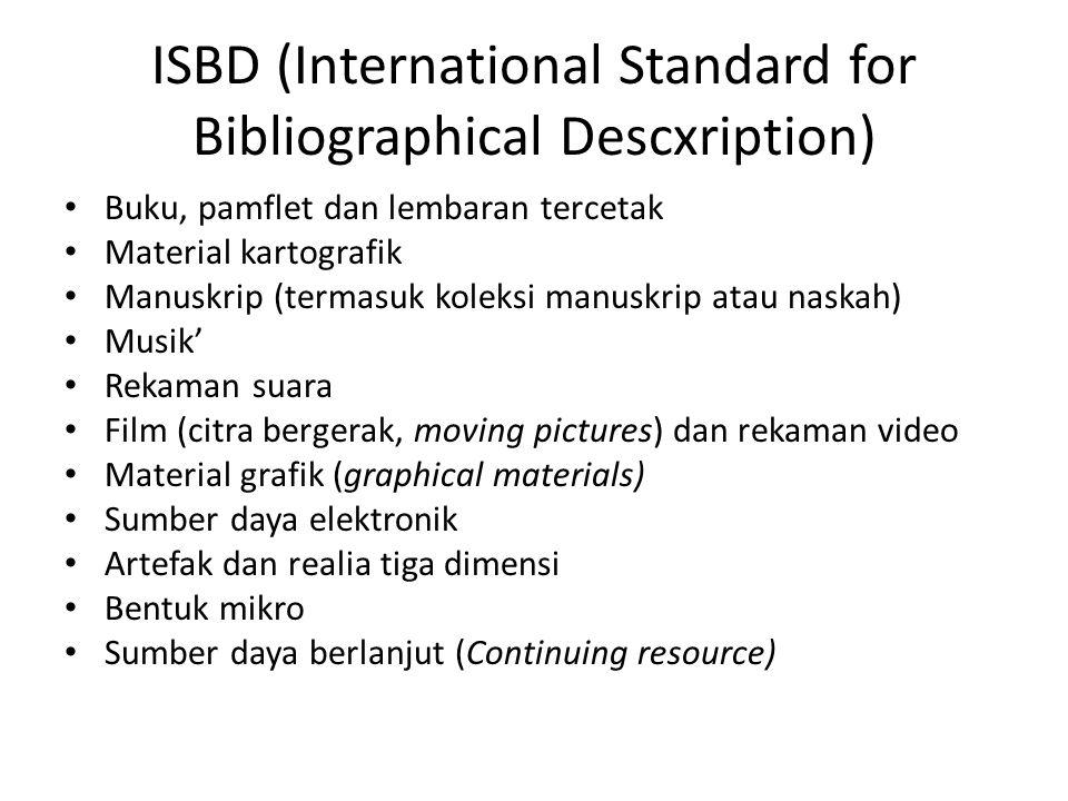 ISBD (International Standard for Bibliographical Descxription)