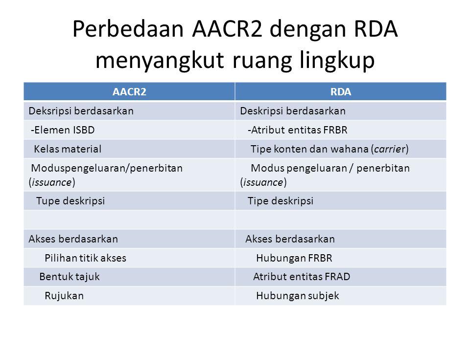 Perbedaan AACR2 dengan RDA menyangkut ruang lingkup