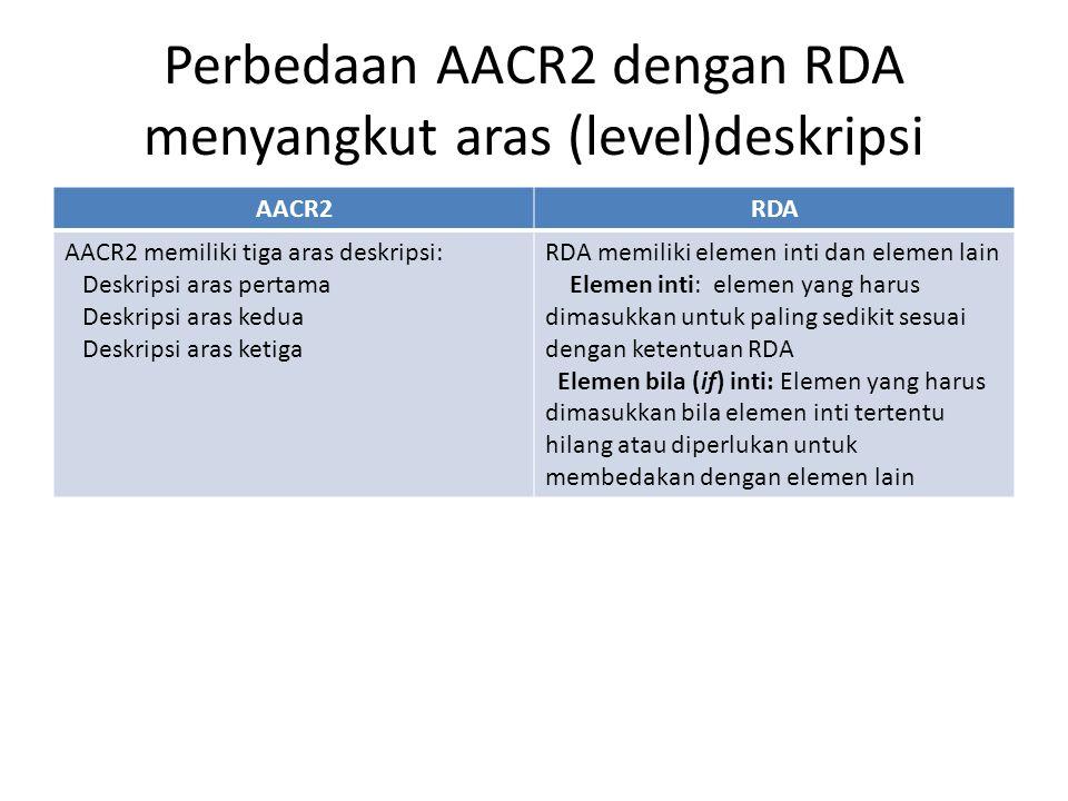 Perbedaan AACR2 dengan RDA menyangkut aras (level)deskripsi