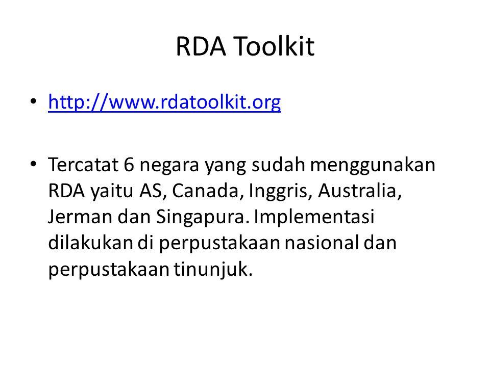 RDA Toolkit http://www.rdatoolkit.org