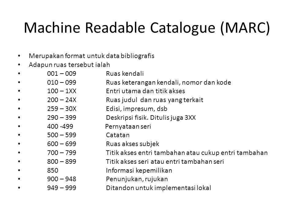 Machine Readable Catalogue (MARC)