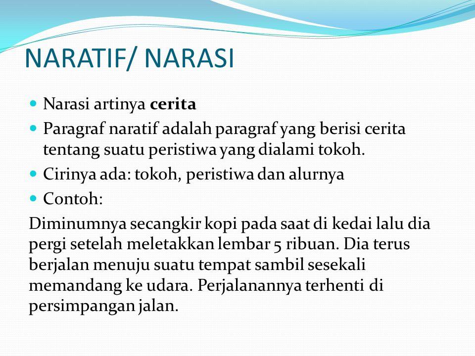 NARATIF/ NARASI Narasi artinya cerita