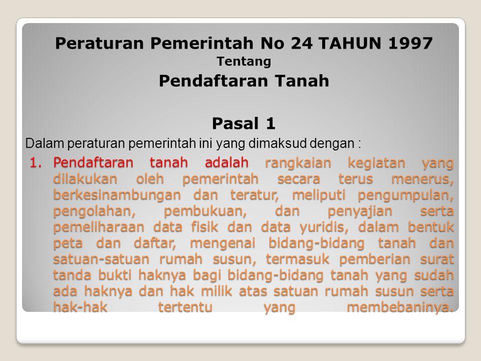 Peraturan Pemerintah No 24 TAHUN 1997
