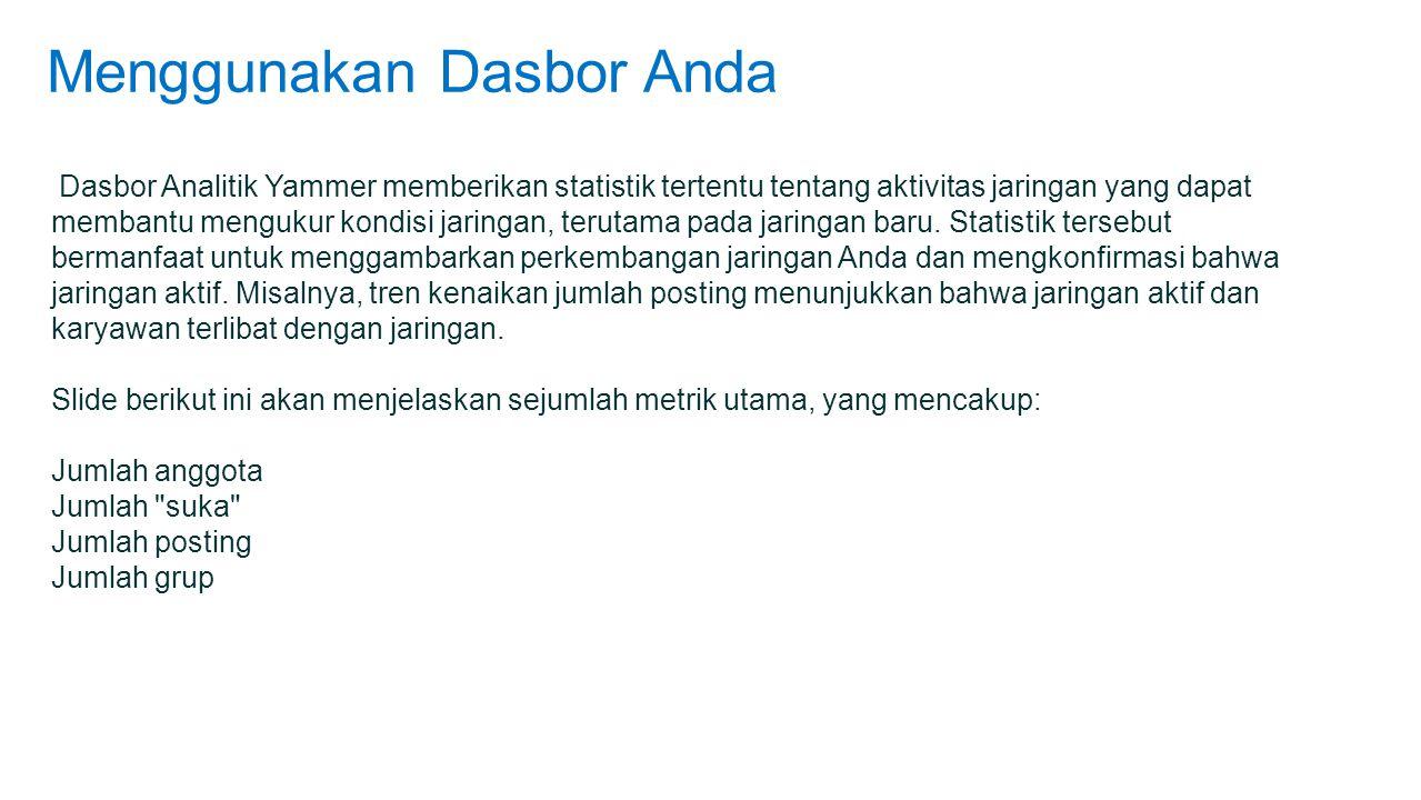 Menggunakan Dasbor Anda