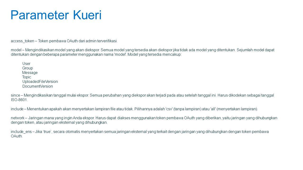 Parameter Kueri access_token – Token pembawa OAuth dari admin terverifikasi.
