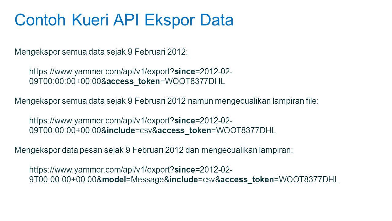Contoh Kueri API Ekspor Data