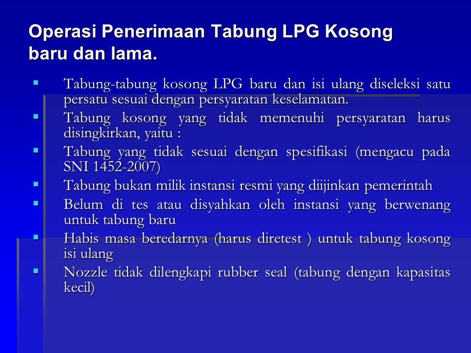 Operasi Penerimaan Tabung LPG Kosong baru dan lama.