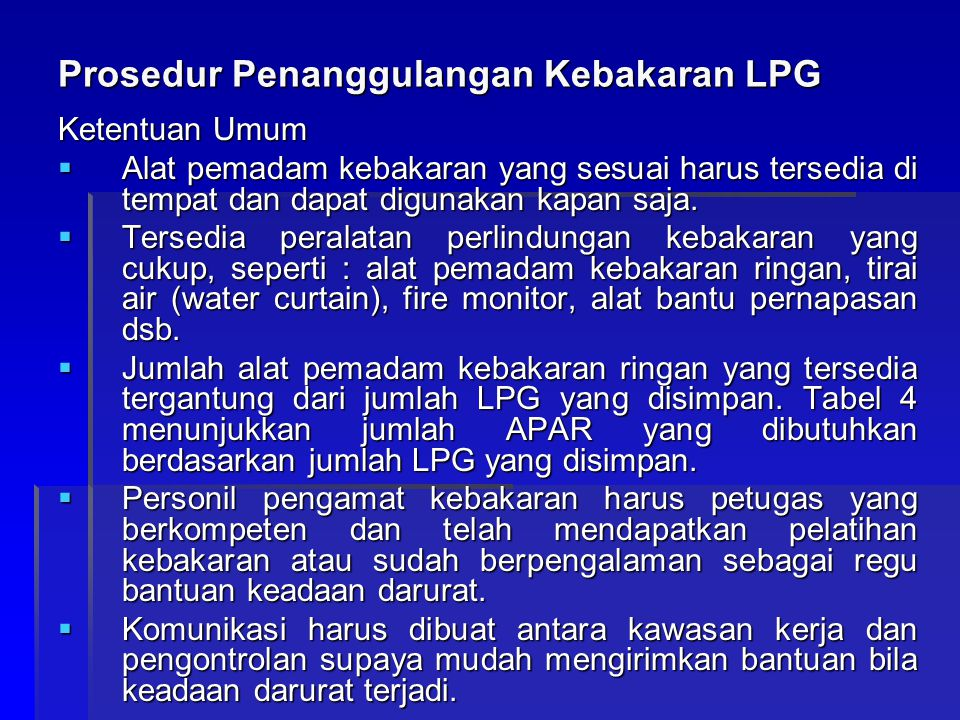 Prosedur Penanggulangan Kebakaran LPG