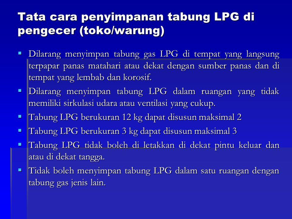 Tata cara penyimpanan tabung LPG di pengecer (toko/warung)