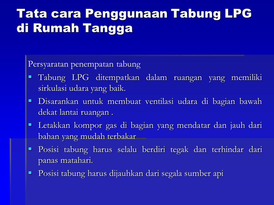 Tata cara Penggunaan Tabung LPG di Rumah Tangga