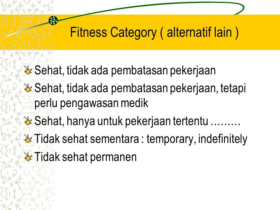 Fitness Category ( alternatif lain )