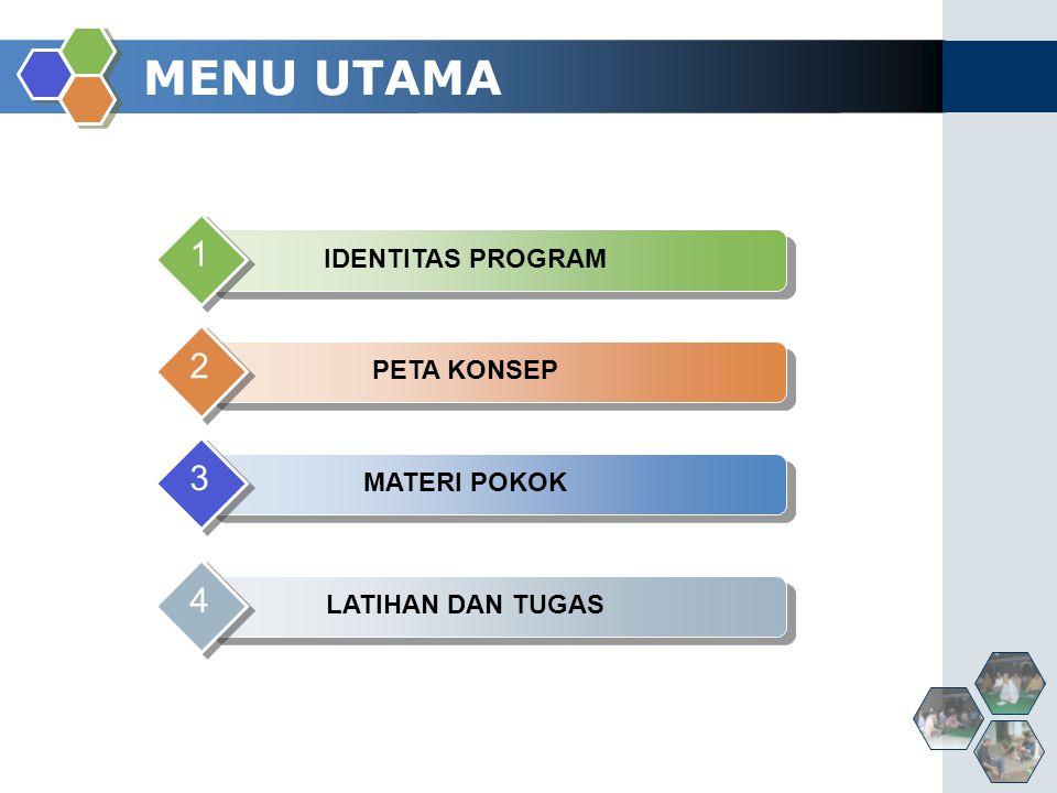 MENU UTAMA 1 2 3 4 IDENTITAS PROGRAM PETA KONSEP MATERI POKOK