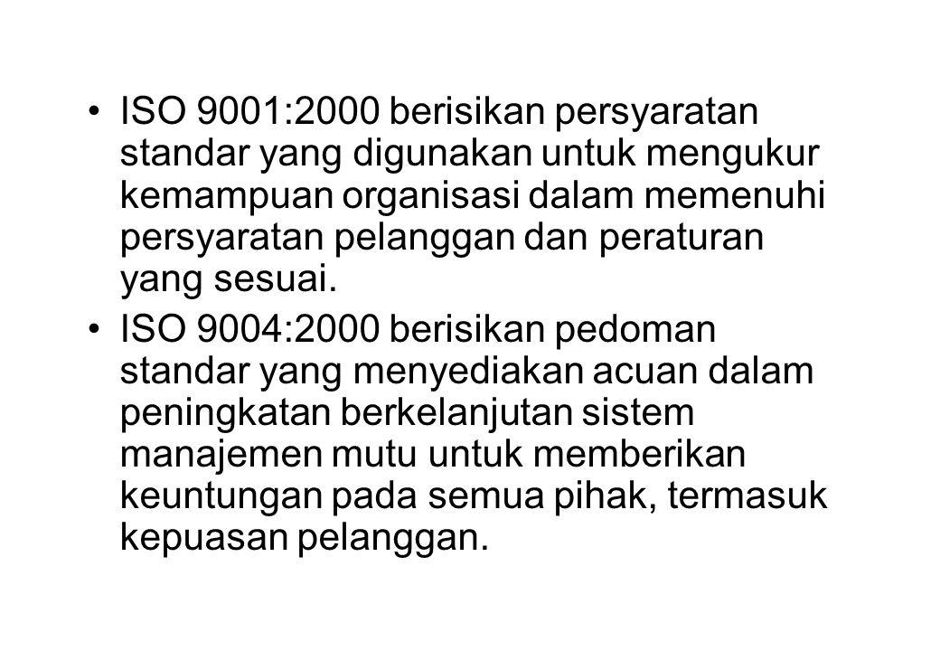 ISO 9001:2000 berisikan persyaratan standar yang digunakan untuk mengukur kemampuan organisasi dalam memenuhi persyaratan pelanggan dan peraturan yang sesuai.