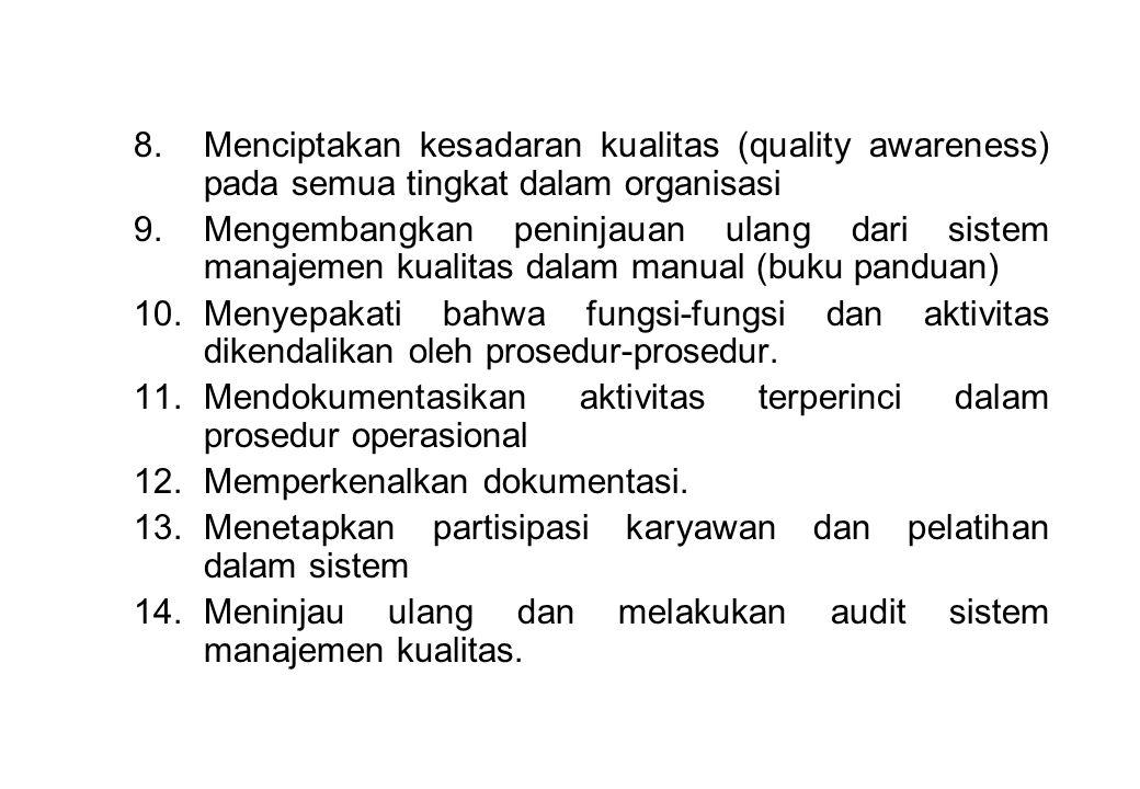 Menciptakan kesadaran kualitas (quality awareness) pada semua tingkat dalam organisasi
