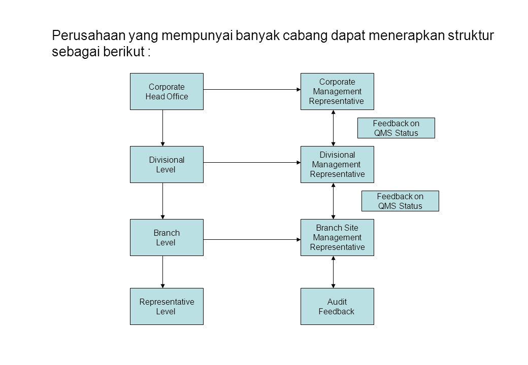 Perusahaan yang mempunyai banyak cabang dapat menerapkan struktur sebagai berikut :