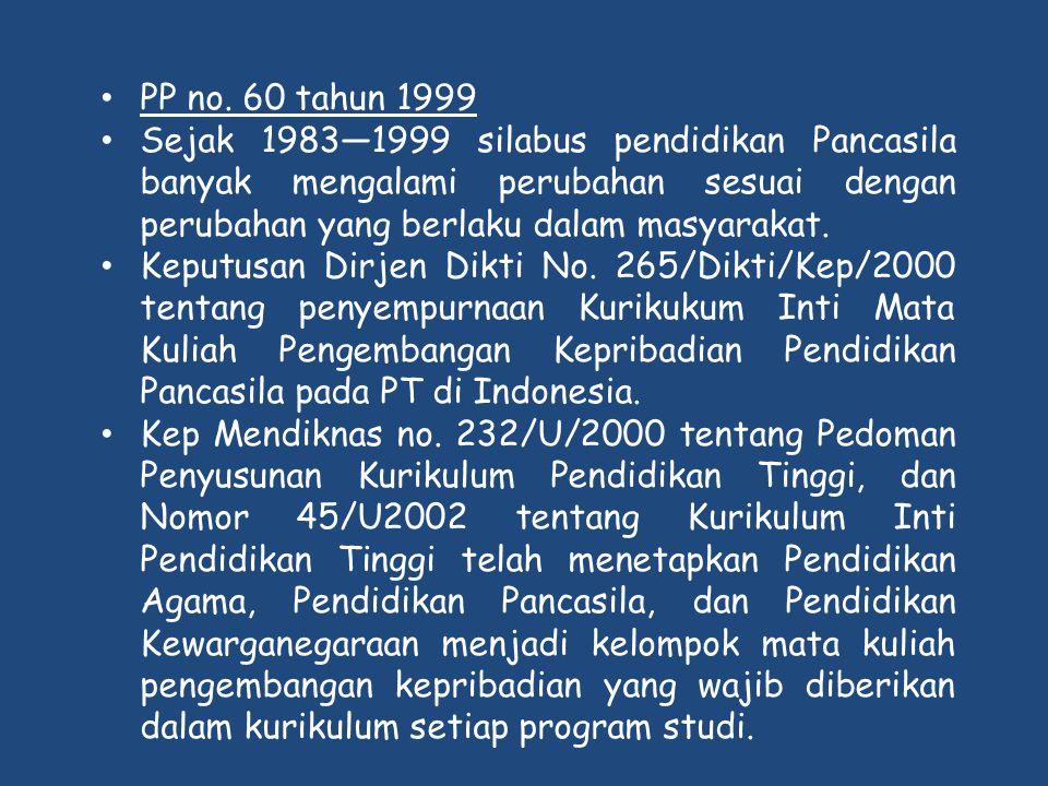 PP no. 60 tahun 1999 Sejak 1983—1999 silabus pendidikan Pancasila banyak mengalami perubahan sesuai dengan perubahan yang berlaku dalam masyarakat.