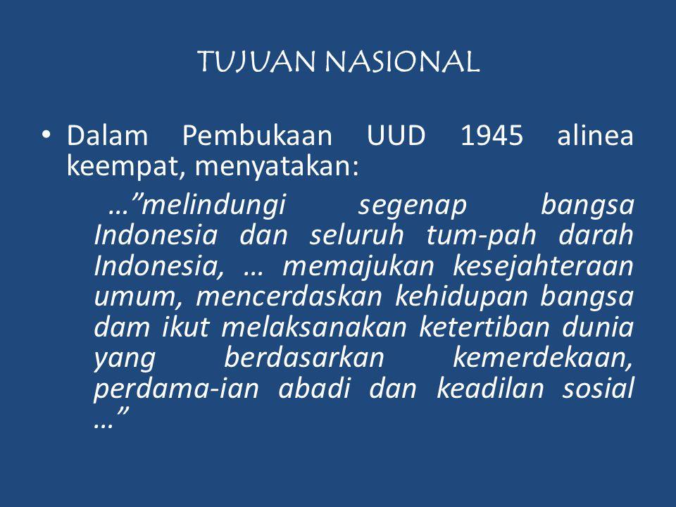Dalam Pembukaan UUD 1945 alinea keempat, menyatakan: