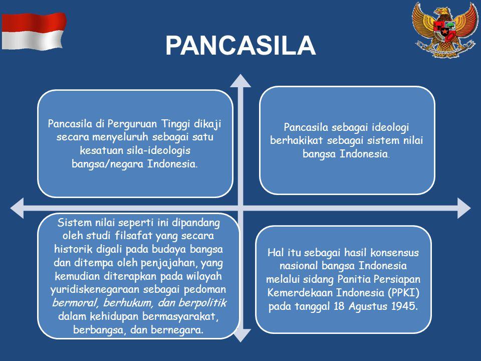 PANCASILA Pancasila di Perguruan Tinggi dikaji secara menyeluruh sebagai satu kesatuan sila-ideologis bangsa/negara Indonesia.