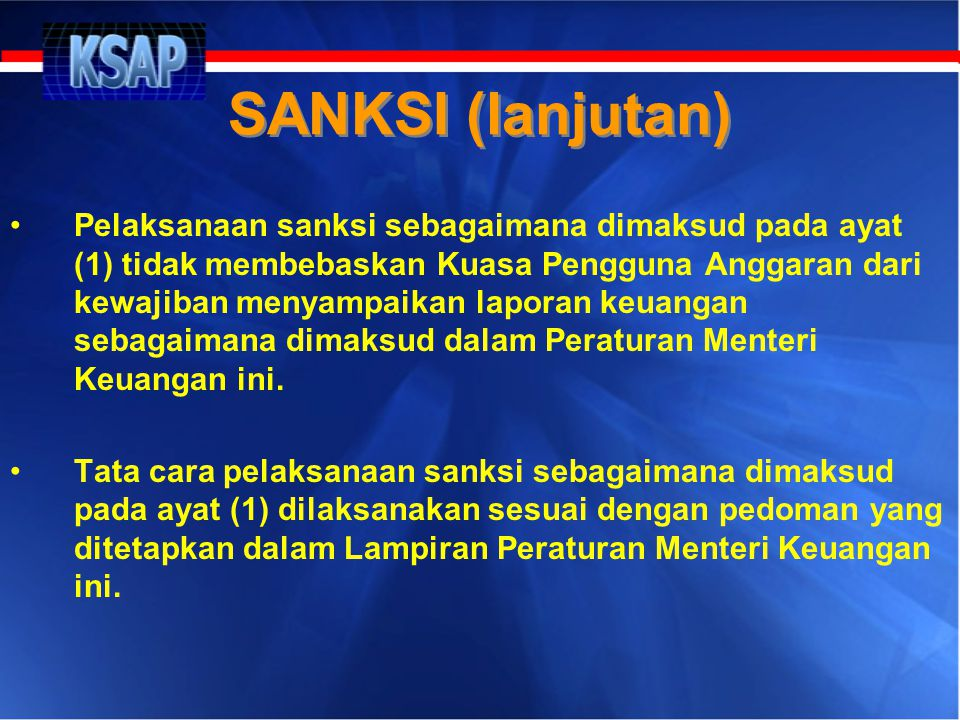 SANKSI (lanjutan)