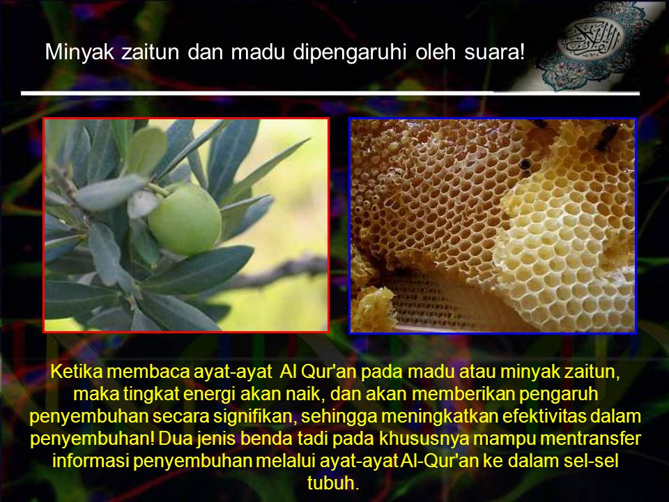 Minyak zaitun dan madu dipengaruhi oleh suara!