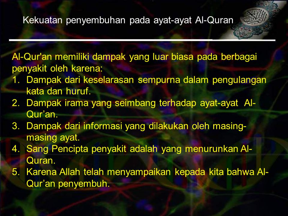 Kekuatan penyembuhan pada ayat-ayat Al-Quran