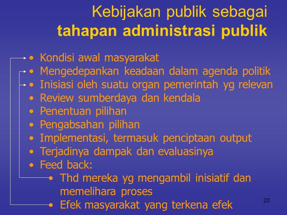 Kebijakan publik sebagai tahapan administrasi publik