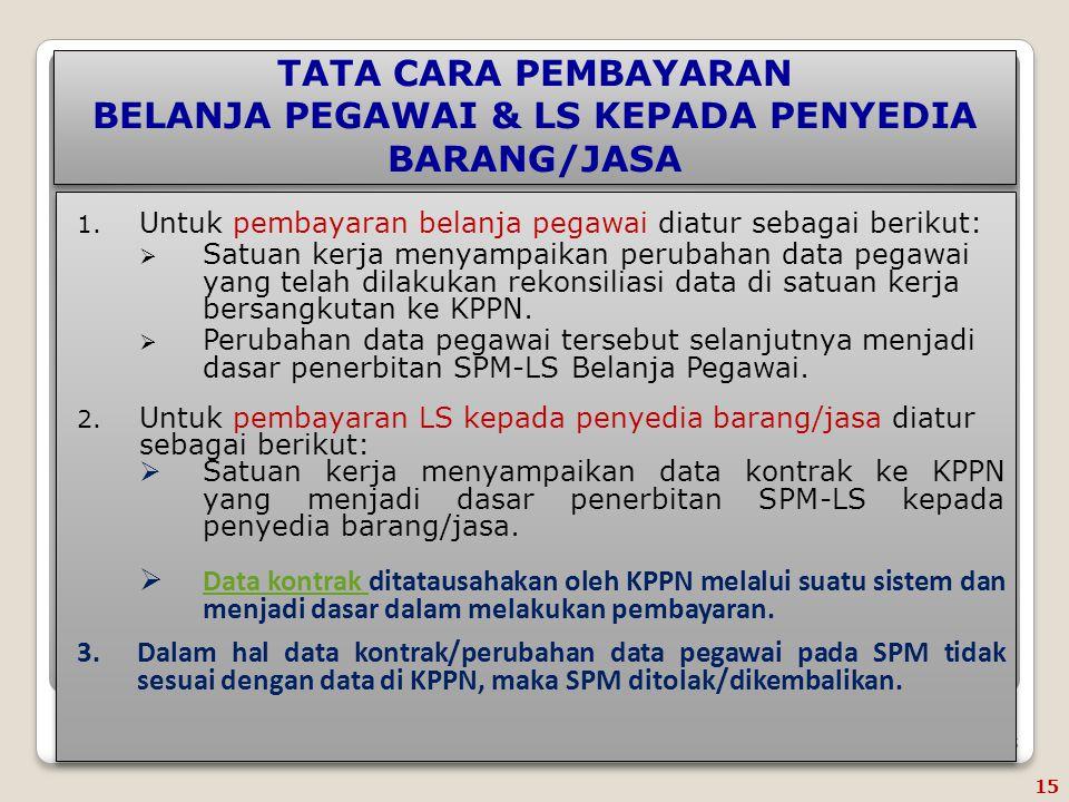 TATA CARA PEMBAYARAN BELANJA PEGAWAI & LS KEPADA PENYEDIA BARANG/JASA