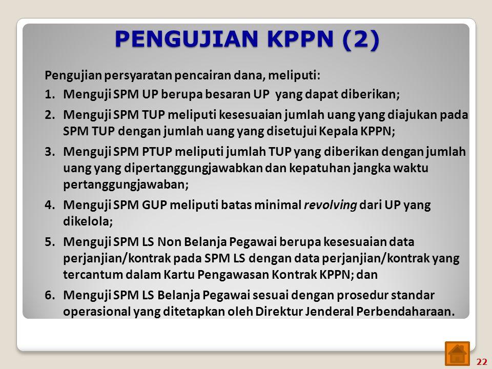 PENGUJIAN KPPN (2) Pengujian persyaratan pencairan dana, meliputi: