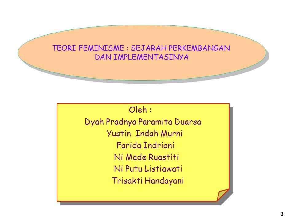 TEORI FEMINISME : SEJARAH PERKEMBANGAN