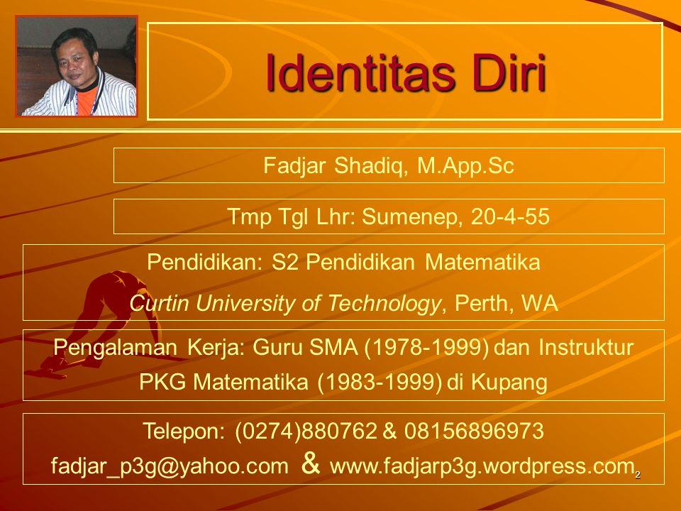 Identitas Diri Fadjar Shadiq, M.App.Sc Tmp Tgl Lhr: Sumenep, 20-4-55