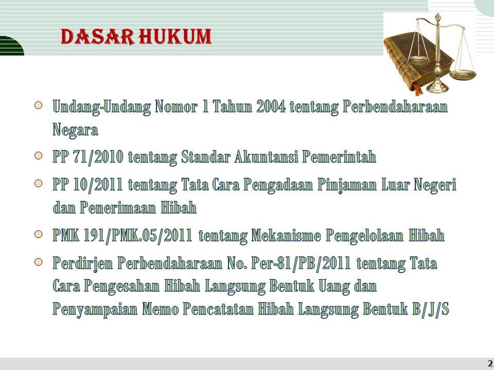 Dasar Hukum Undang-Undang Nomor 1 Tahun 2004 tentang Perbendaharaan Negara. PP 71/2010 tentang Standar Akuntansi Pemerintah.