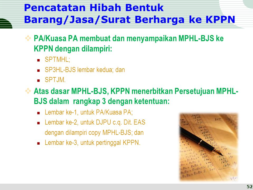 Pencatatan Hibah Bentuk Barang/Jasa/Surat Berharga ke KPPN