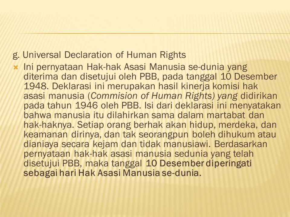 g. Universal Declaration of Human Rights