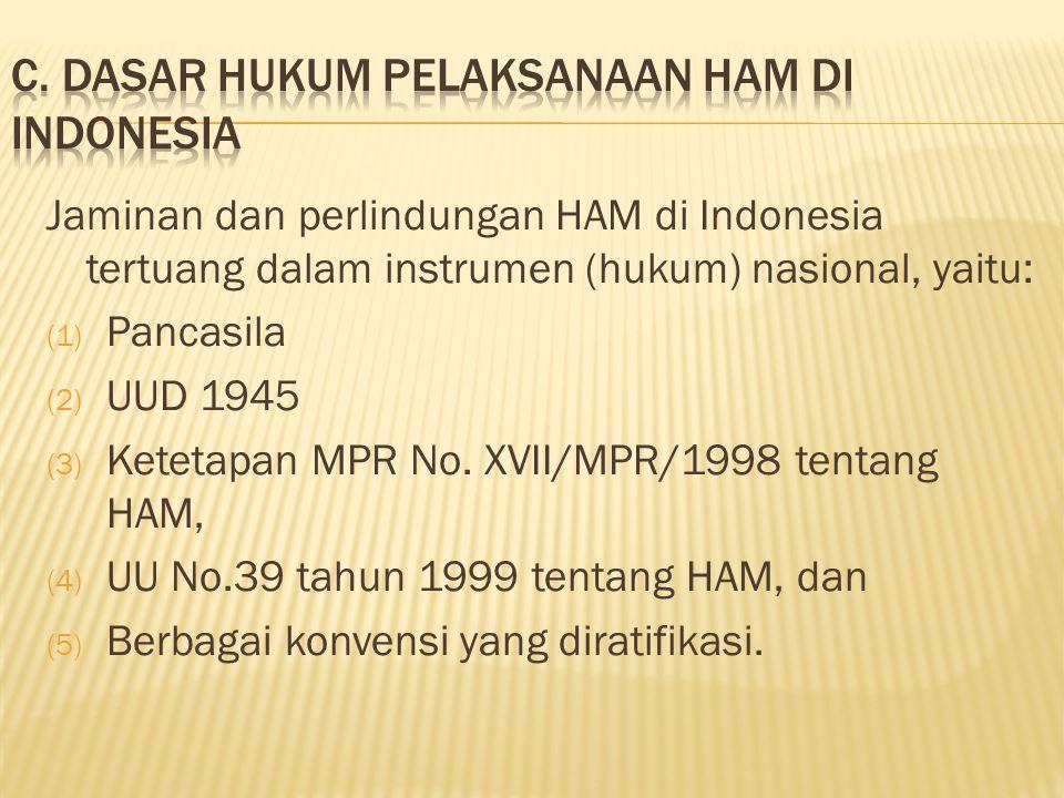 C. Dasar hukum pelaksanaan ham di indonesia
