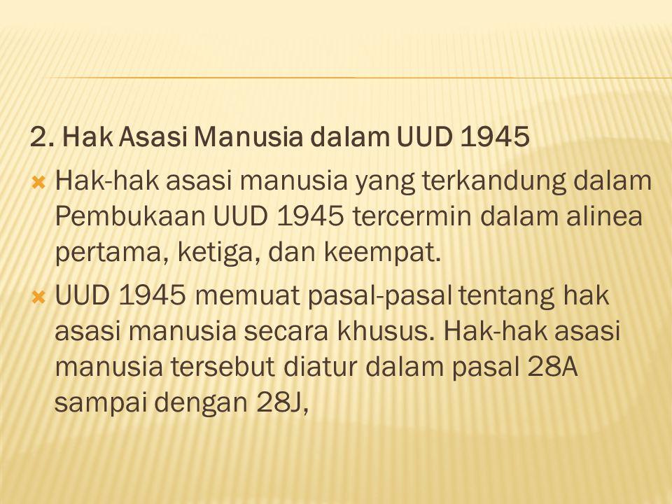 2. Hak Asasi Manusia dalam UUD 1945