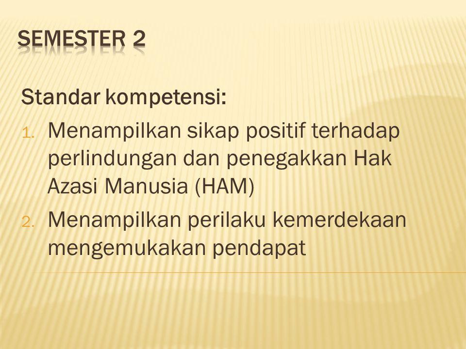 Semester 2 Standar kompetensi: Menampilkan sikap positif terhadap perlindungan dan penegakkan Hak Azasi Manusia (HAM)