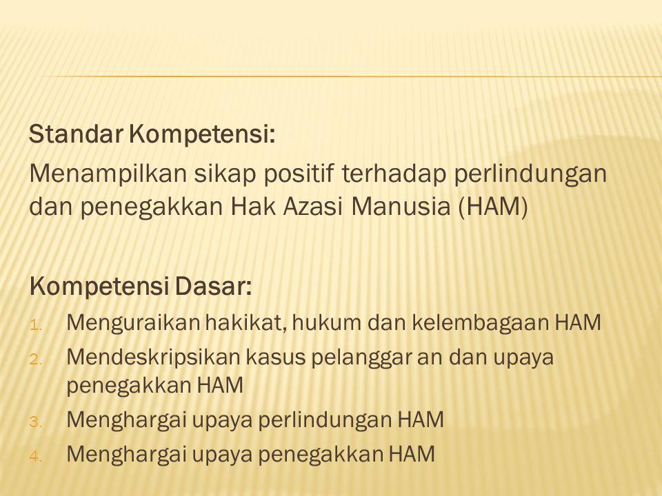 Standar Kompetensi: Menampilkan sikap positif terhadap perlindungan dan penegakkan Hak Azasi Manusia (HAM)