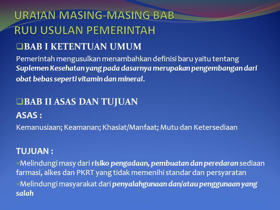URAIAN MASING-MASING BAB RUU USULAN PEMERINTAH