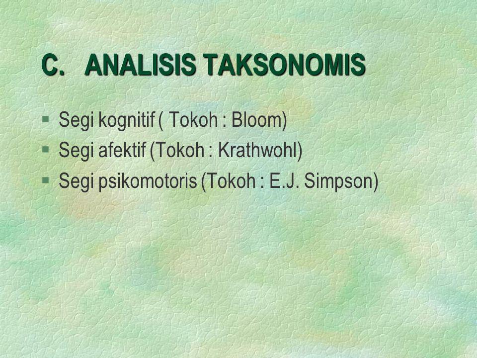 C. ANALISIS TAKSONOMIS Segi kognitif ( Tokoh : Bloom)