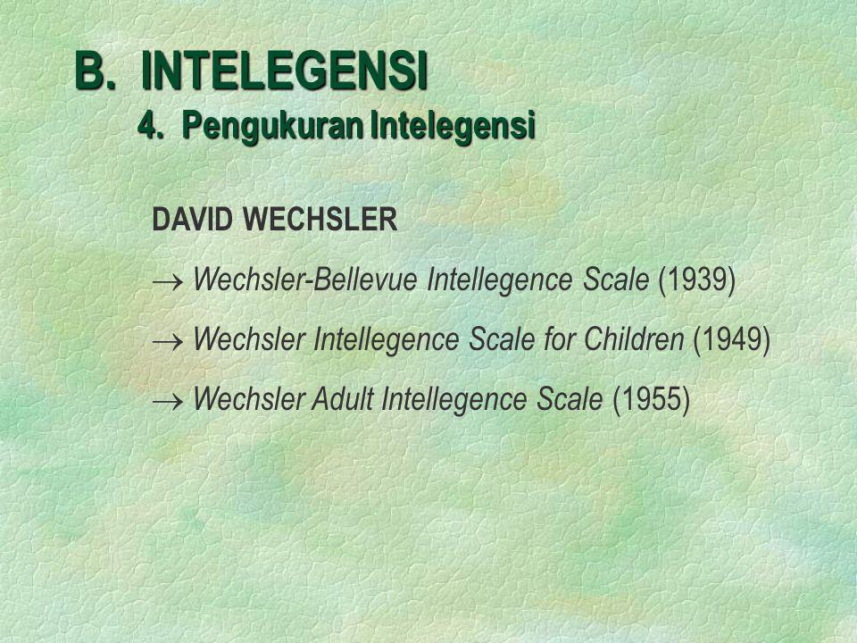 B. INTELEGENSI 4. Pengukuran Intelegensi