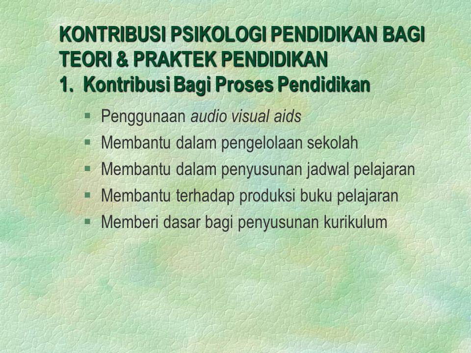 KONTRIBUSI PSIKOLOGI PENDIDIKAN BAGI TEORI & PRAKTEK PENDIDIKAN 1
