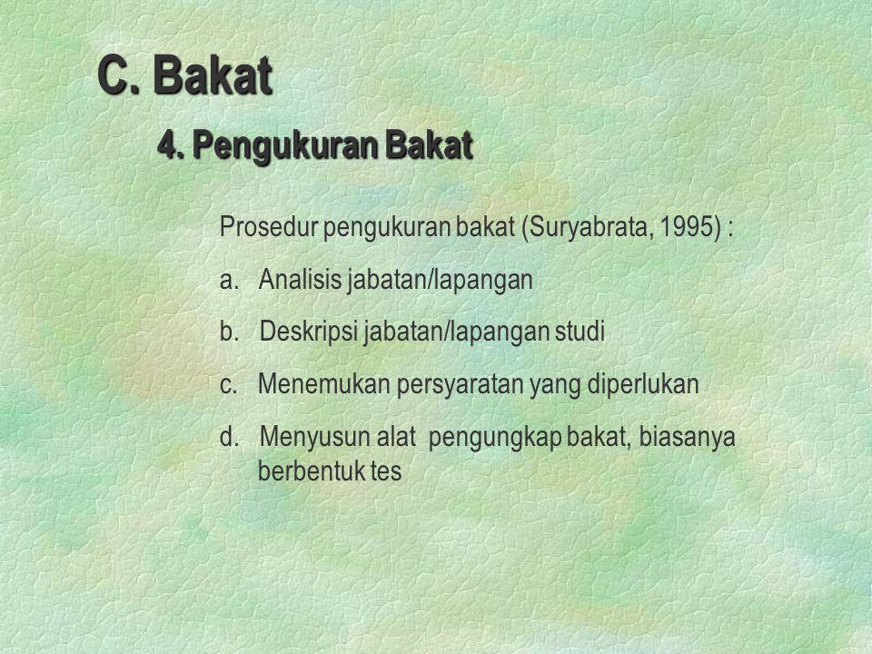 C. Bakat 4. Pengukuran Bakat