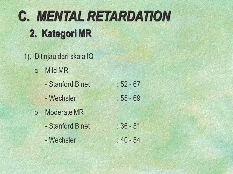 C. MENTAL RETARDATION 2. Kategori MR 1). Ditinjau dari skala IQ