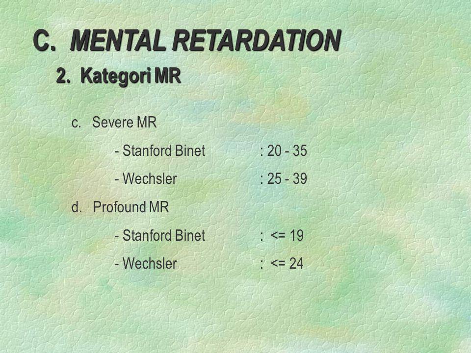 C. MENTAL RETARDATION 2. Kategori MR c. Severe MR