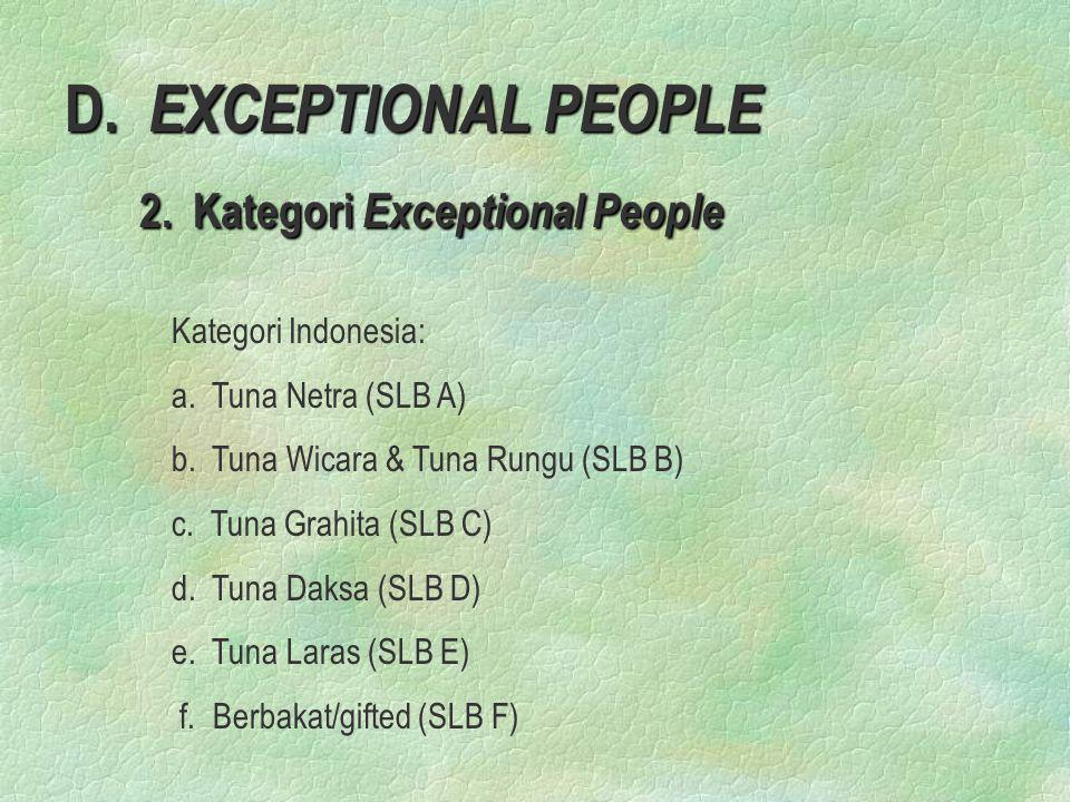 2. Kategori Exceptional People