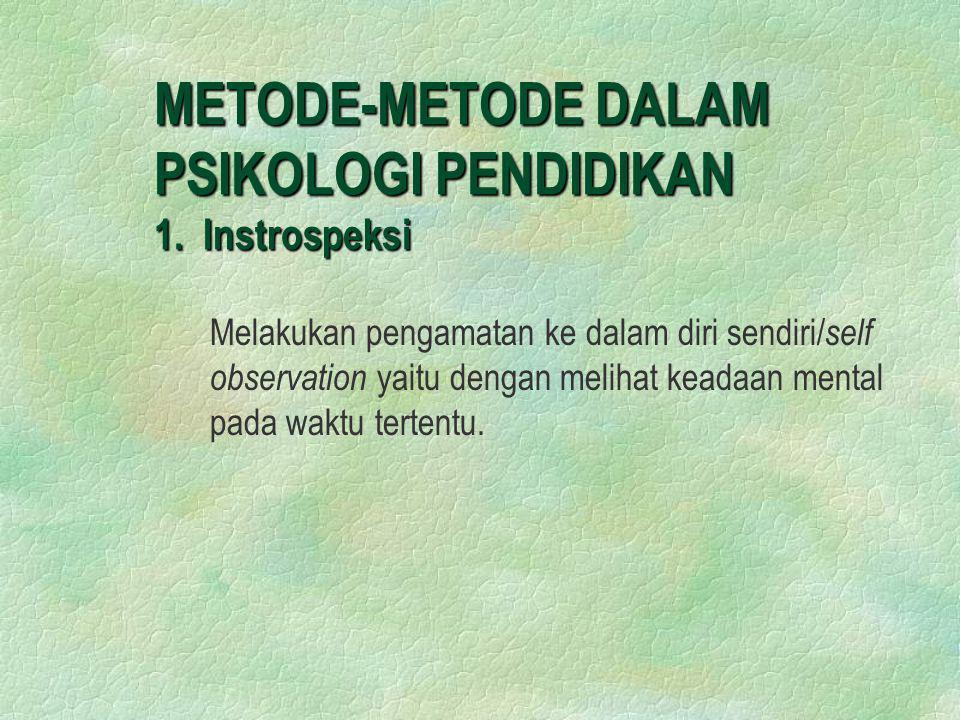 METODE-METODE DALAM PSIKOLOGI PENDIDIKAN 1. Instrospeksi