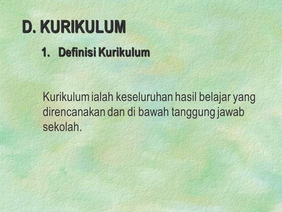 D. KURIKULUM 1. Definisi Kurikulum.