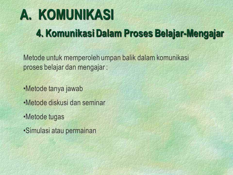 A. KOMUNIKASI 4. Komunikasi Dalam Proses Belajar-Mengajar