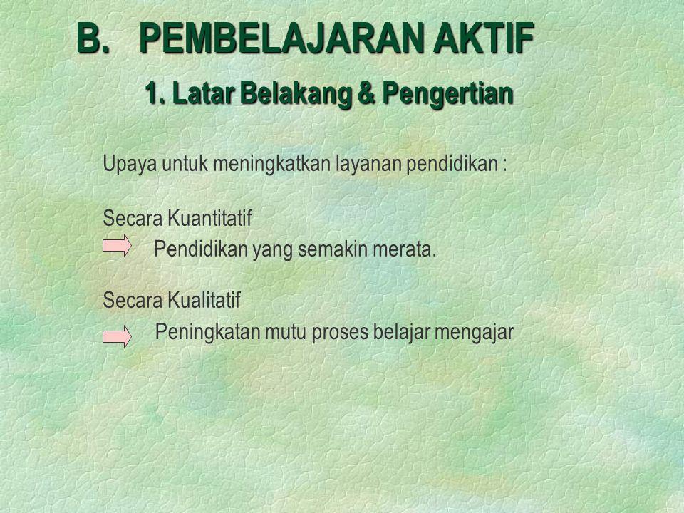 B. PEMBELAJARAN AKTIF 1. Latar Belakang & Pengertian