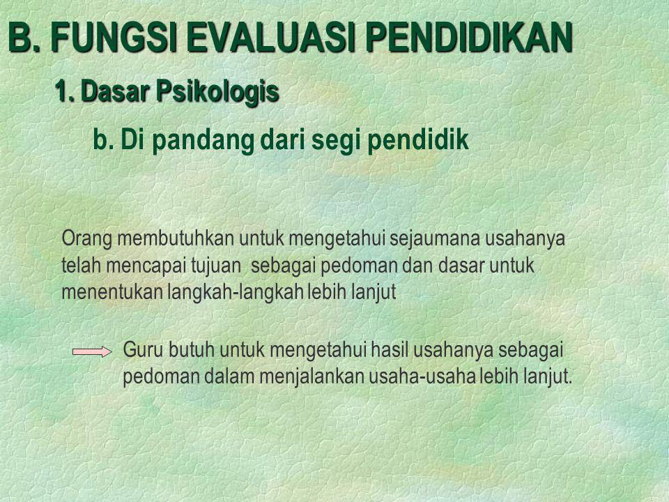 B. FUNGSI EVALUASI PENDIDIKAN 1. Dasar Psikologis. b